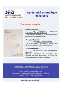 Isotopes et fraudes - affr071207