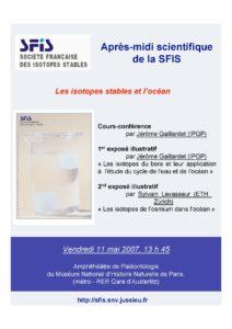 Isotopes stables et océans - affr110507